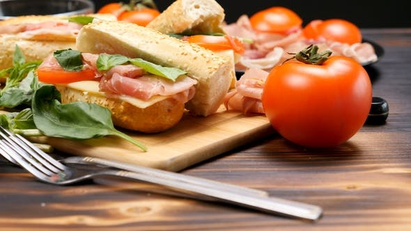 Healthy Delicious Sandwiches on the Kitchen Table