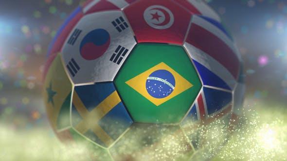 Thumbnail for Brazil Flag on a Soccer Ball - Football in Stadium