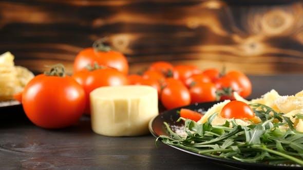 Leckere italienische Traditionelle Tagliatelle Pasta