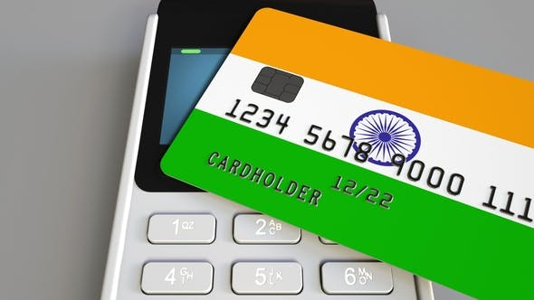 Thumbnail for Payment or POS Terminal with Credit Card Featuring Flag of India