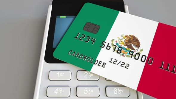 Thumbnail for Payment or POS Terminal with Credit Card Featuring Flag of Mexico
