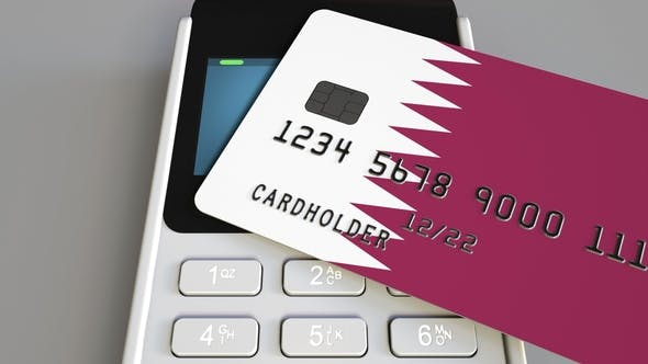 Thumbnail for Payment or POS Terminal with Credit Card Featuring Flag of Qatar