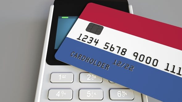 Thumbnail for Payment or POS Terminal with Credit Card Featuring Flag of the Netherlands