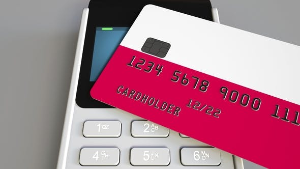 Thumbnail for Payment or POS Terminal with Credit Card Featuring Flag of Poland