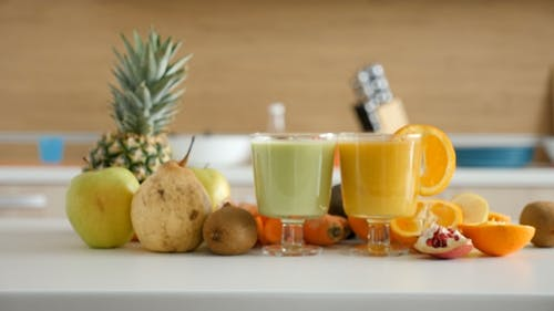 Two Glasses with Healthy and Organic Smoothies