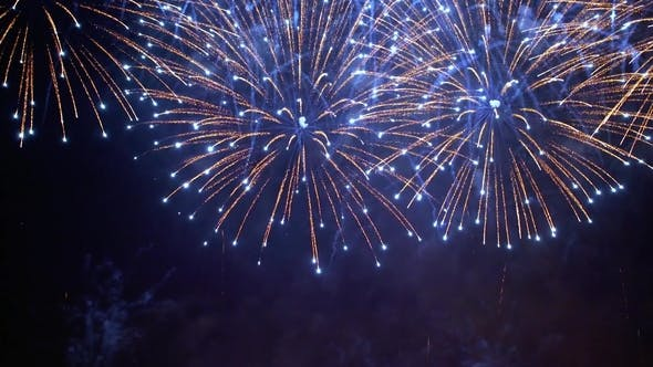 Thumbnail for Colorful Fireworks Exploding in the Night Sky. Celebrations and Events in Bright Colors