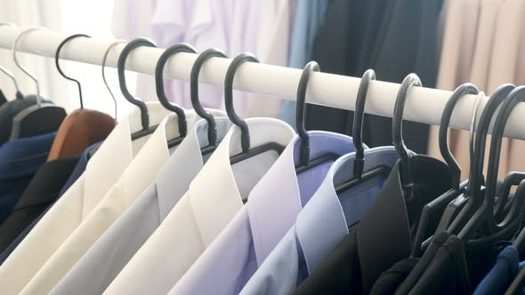 Thumbnail for Hanger with Male Business Clothes in a Store