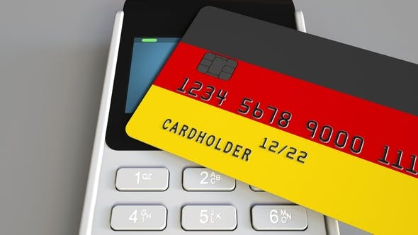 Thumbnail for Payment or POS Terminal with Credit Card Featuring Flag of Germany