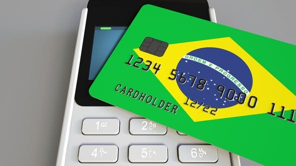 Thumbnail for Payment or POS Terminal with Credit Card Featuring Flag of Brazil