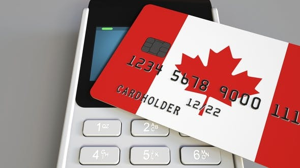 Cover Image for Payment or POS Terminal with Credit Card Featuring Flag of Canada