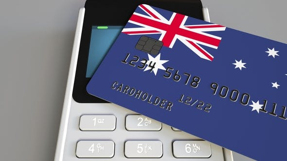 Thumbnail for Payment or POS Terminal with Credit Card Featuring Flag of Australia