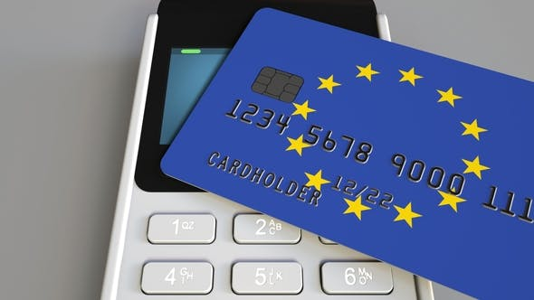 Thumbnail for POS Terminal with Credit Card Featuring Flag of the European Union