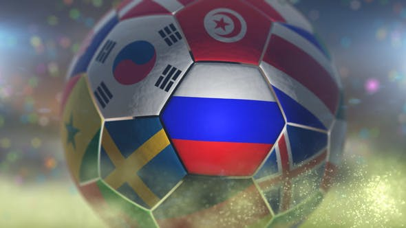 Thumbnail for Russia Flag on a Soccer Ball - Football in Stadium