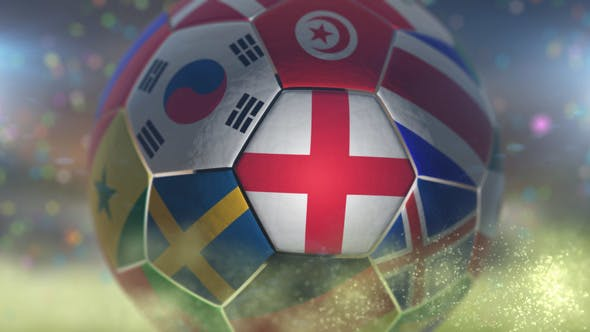 Thumbnail for England Flag on a Soccer Ball - Football in Stadium