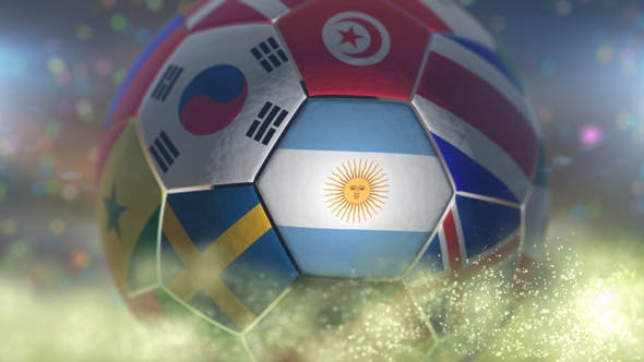 Thumbnail for Argentina Flag on a Soccer Ball - Football in Stadium