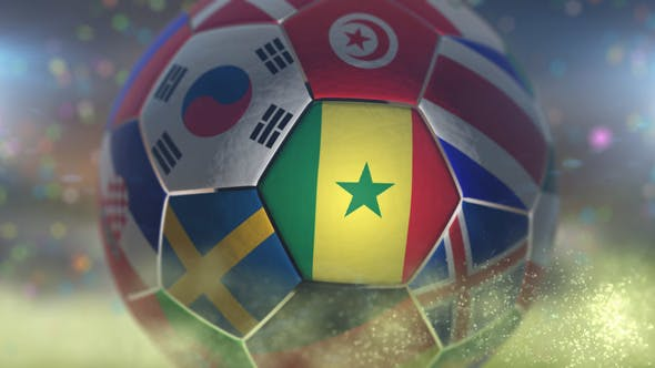 Thumbnail for Senegal Flag on a Soccer Ball - Football in Stadium