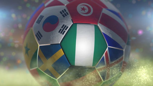 Thumbnail for Nigeria Flag on a Soccer Ball - Football in Stadium