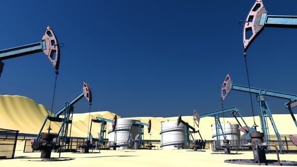 Thumbnail for Oil Field with Pumpjacks and Pipeline