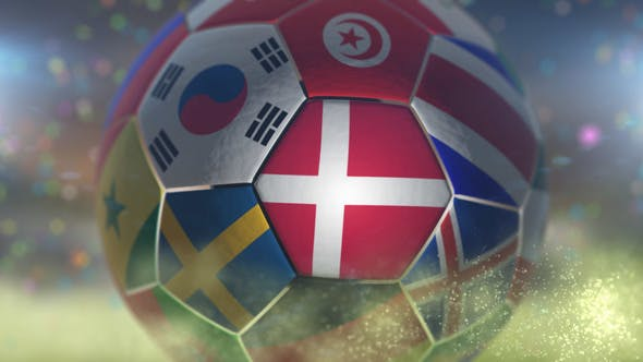 Thumbnail for Denmark Flag on a Soccer Ball - Football Fly with Particles