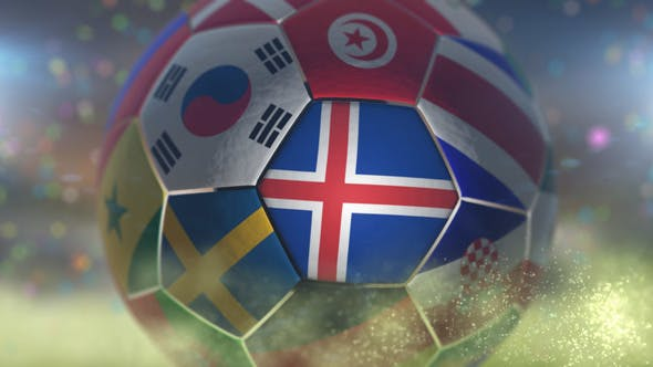 Thumbnail for Iceland Flag on a Soccer Ball - Football Fly with Particles