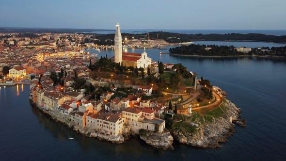 Thumbnail for Night Aerial View of Rovinj, Croatia