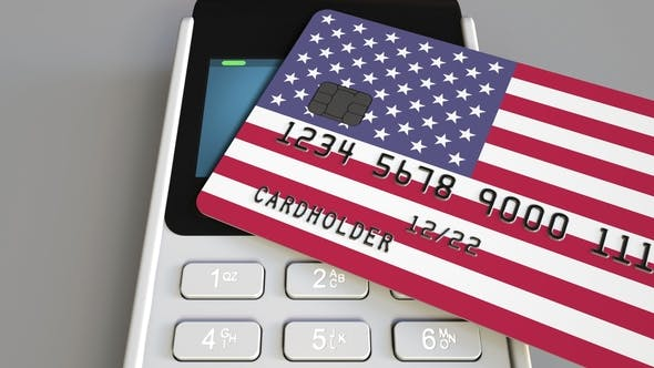 Thumbnail for POS Terminal with Credit Card Featuring Flag of the United States