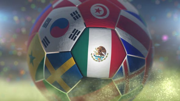 Thumbnail for Mexico Flag on a Soccer Ball - Football in Stadium