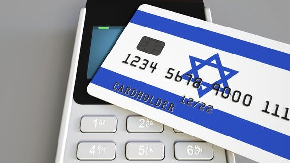 Cover Image for POS Terminal with Credit Card Featuring Flag of Israel