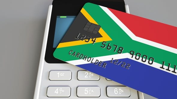 Thumbnail for Payment Terminal with Credit Card Featuring Flag of South Africa
