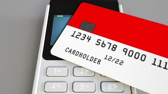 Thumbnail for Payment or POS Terminal with Credit Card Featuring Flag of Indonesia