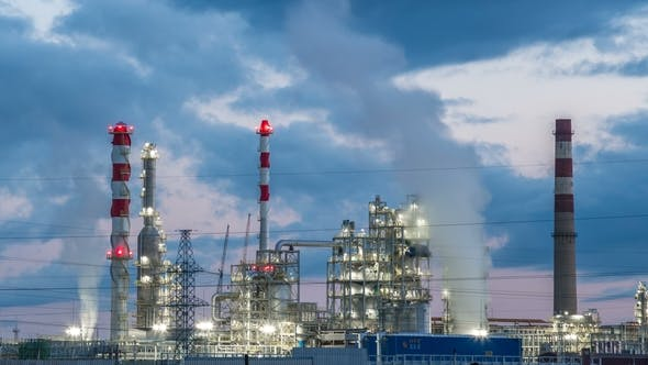 Thumbnail for Industrial Pipelines of an Oil-Refinery Plant at Twilight