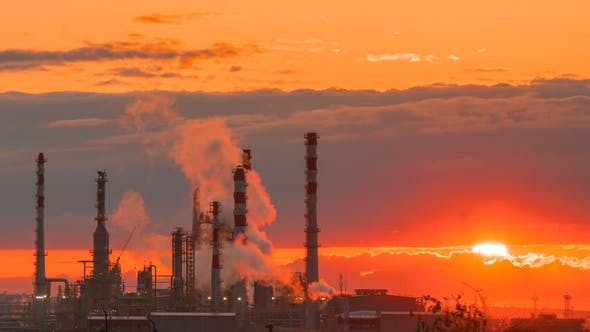 Cover Image for Oil Refining Industry Factory at the Morning Sunrise.