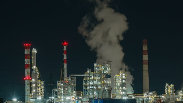 Cover Image for Oil Refinery Lights Night View, Industrial Zone Landscape Background