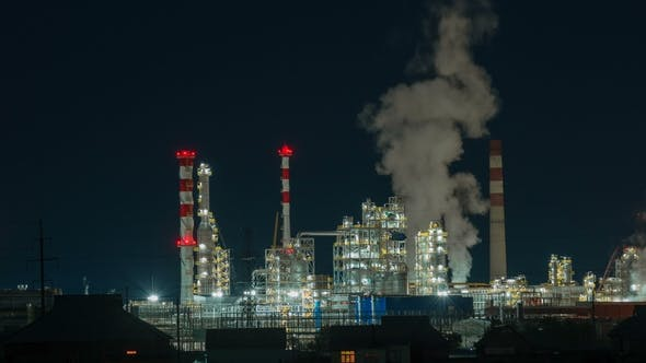 Cover Image for Oil Refinery Lights Night View, Industrial Landscape Background
