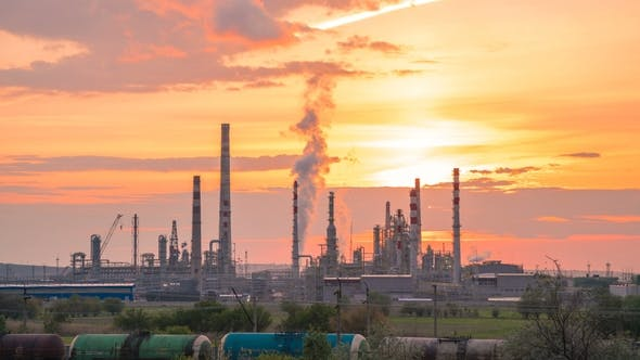 Thumbnail for Oil Industry Refinery Factory at Sunset Time.