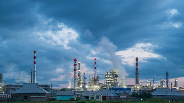 Thumbnail for Oil Refining Industry Factory at the Cloudy Time.