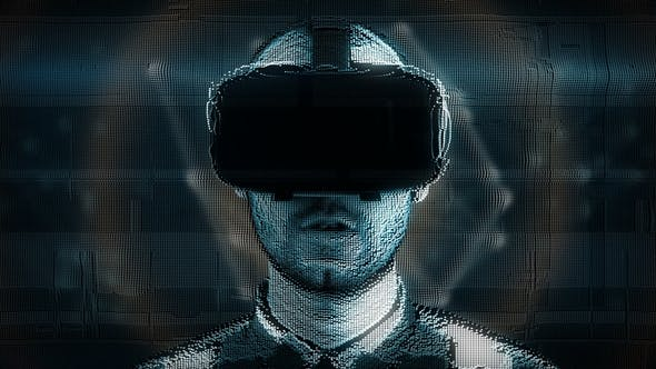 A Talking Hologram of a Young Man with Digital Disturbances in Virtual Reality Glasses