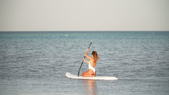 Thumbnail for Aerial View of Young Girl Stand Up Paddling on Vacation. Tracking Shot of a Young Woman SUP Boarding