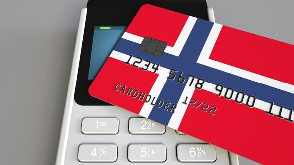 Thumbnail for POS Terminal with Credit Card Featuring Flag of Norway