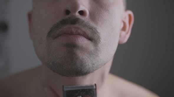 Thumbnail for Male Carefully Shaving His Beard Off, Hair Grooming, Personal Hygiene
