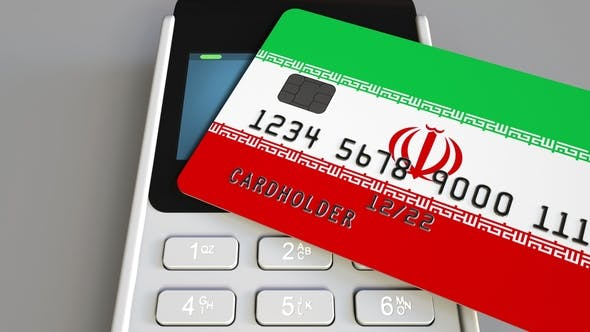 Cover Image for POS Terminal with Credit Card Featuring Flag of Iran
