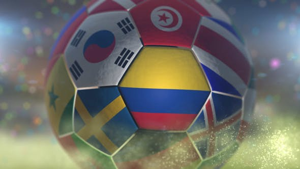 Thumbnail for Colombia Flag on a Soccer Ball - Football Fly with Particles