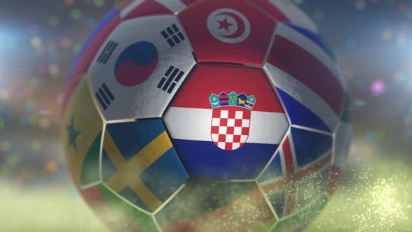 Thumbnail for Croatia Flag on a Soccer Ball - Football Fly with Particles