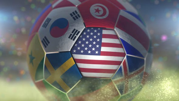 Thumbnail for USA Flag on a Soccer Ball - Football in Arena