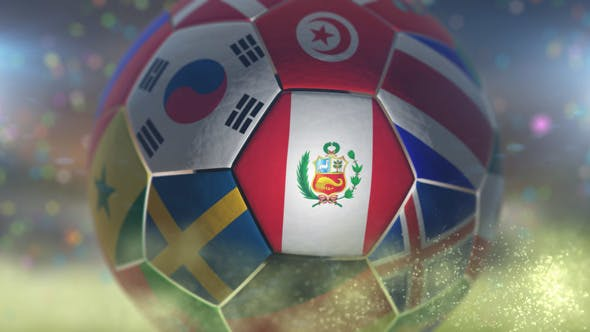 Thumbnail for Peru Flag on a Soccer Ball - Football Fly with Particles