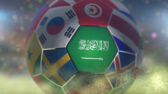 Thumbnail for Saudi Arabia Flag on a Soccer Ball - Football Fly with Particles