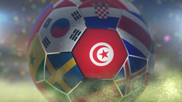 Thumbnail for Tunisia Flag on a Soccer Ball - Football Fly with Particles