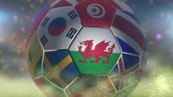 Thumbnail for Wales Flag on a Soccer Ball - Football Fly with Particles