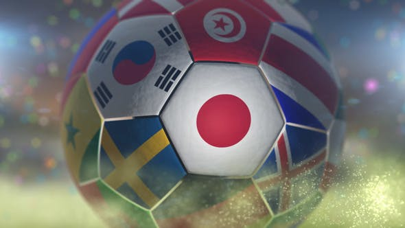Thumbnail for Japan Flag on a Soccer Ball - Football in Stadium