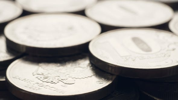 Rubles Coins Rotating
